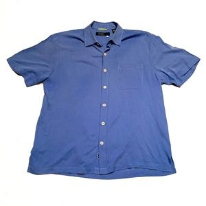 Nat Nast Luxury Original Blue Silk Button Up Shirt